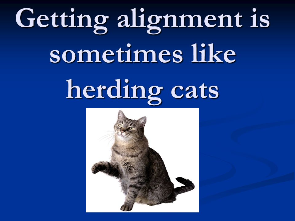 Getting alignment is sometimes like herding cats