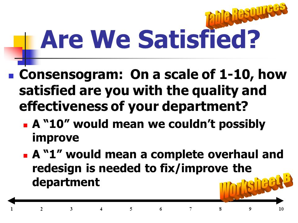 Are We Satisfied Table Resources Worksheet B
