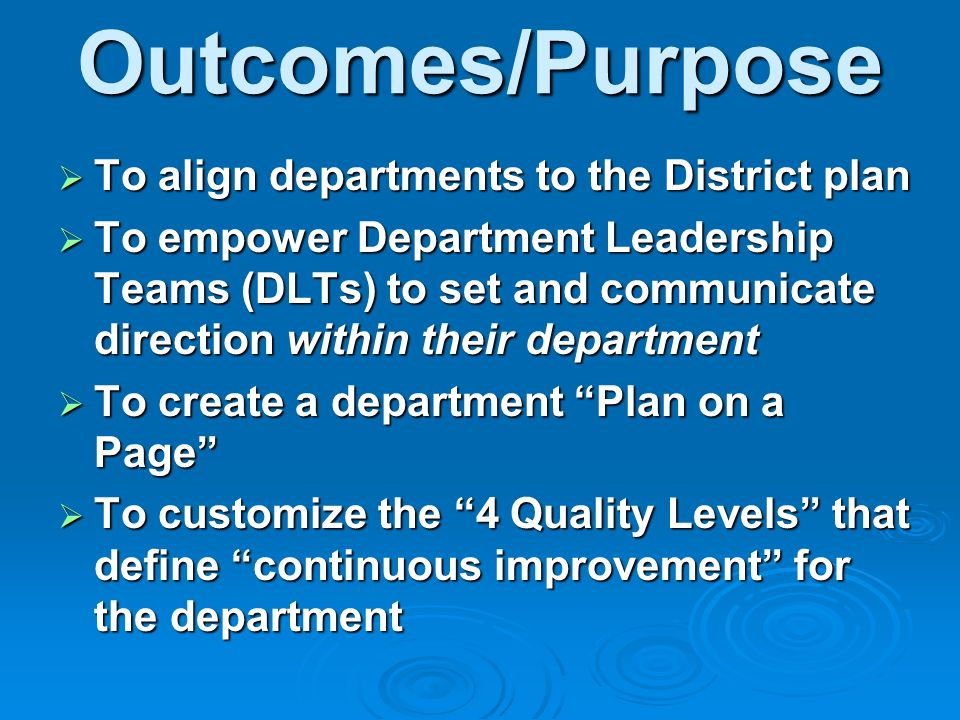 Outcomes/Purpose To align departments to the District plan