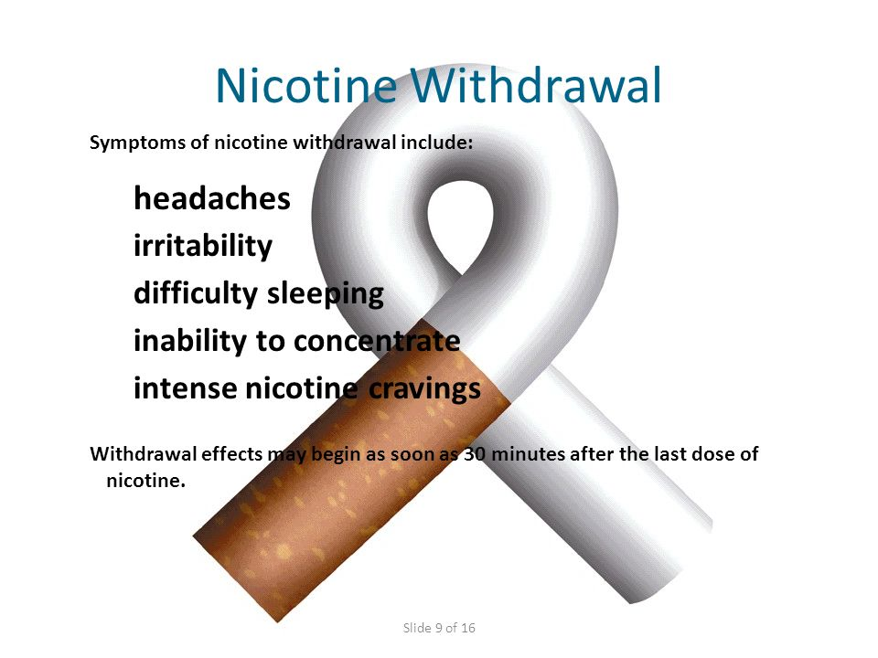 Nicotine Withdrawal headaches irritability difficulty sleeping