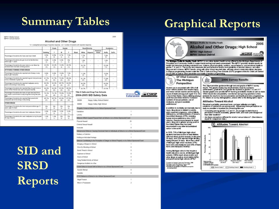 Summary Tables Graphical Reports SID and SRSD Reports