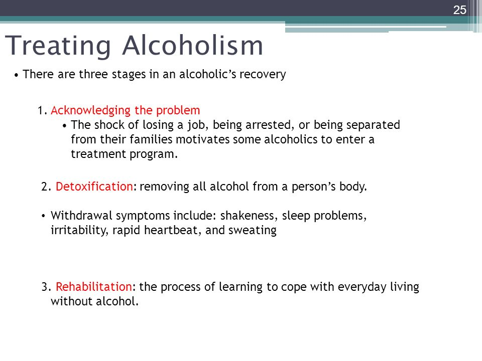 Treating Alcoholism There are three stages in an alcoholic's recovery
