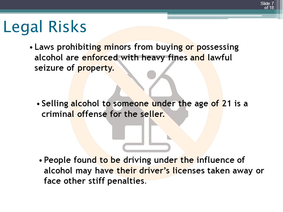 Legal Risks Laws prohibiting minors from buying or possessing alcohol are enforced with heavy fines and lawful seizure of property.