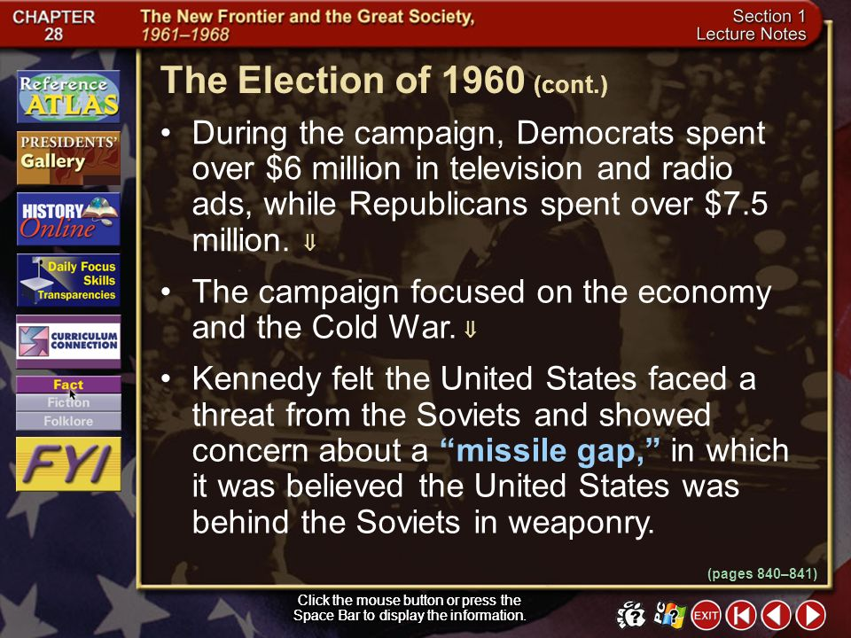 The Election of 1960 (cont.)