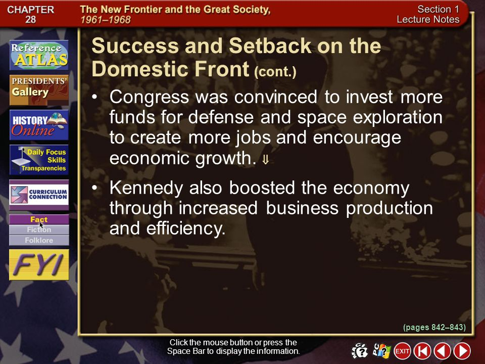 Success and Setback on the Domestic Front (cont.)