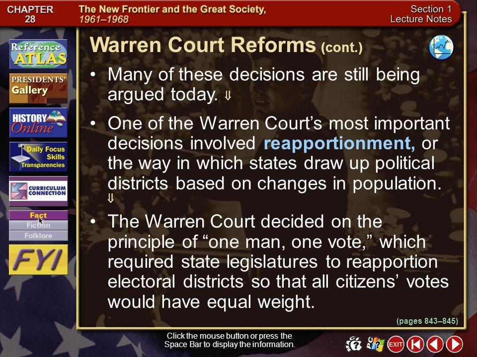 Warren Court Reforms (cont.)