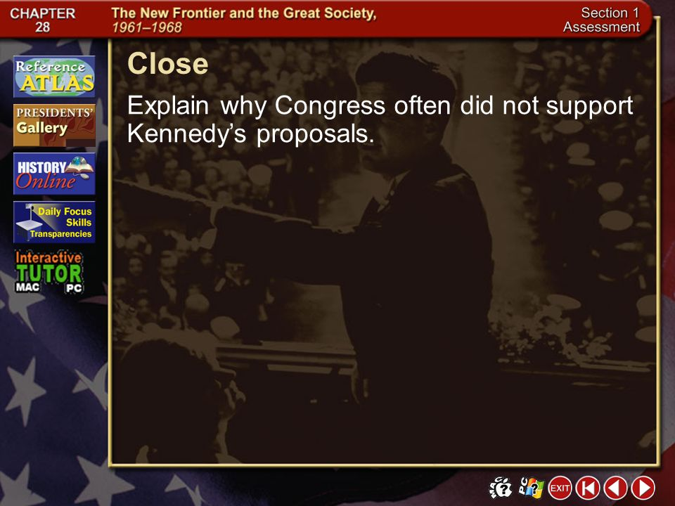 Close Explain why Congress often did not support Kennedy's proposals.