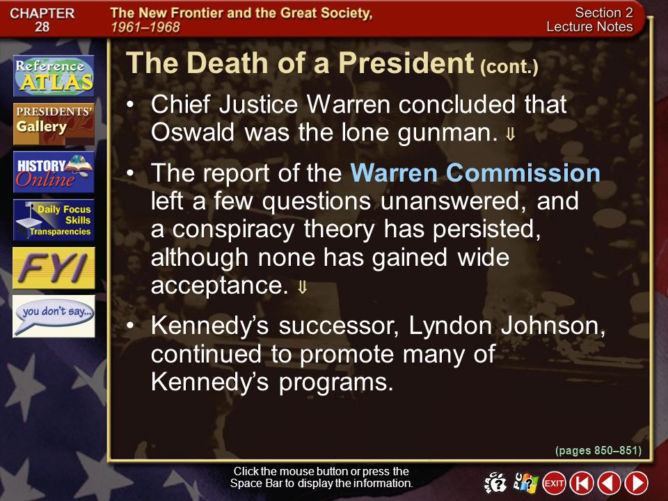 The Death of a President (cont.)
