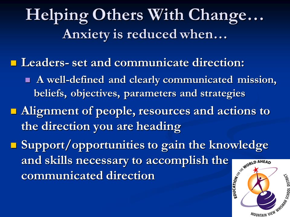 Helping Others With Change… Anxiety is reduced when…