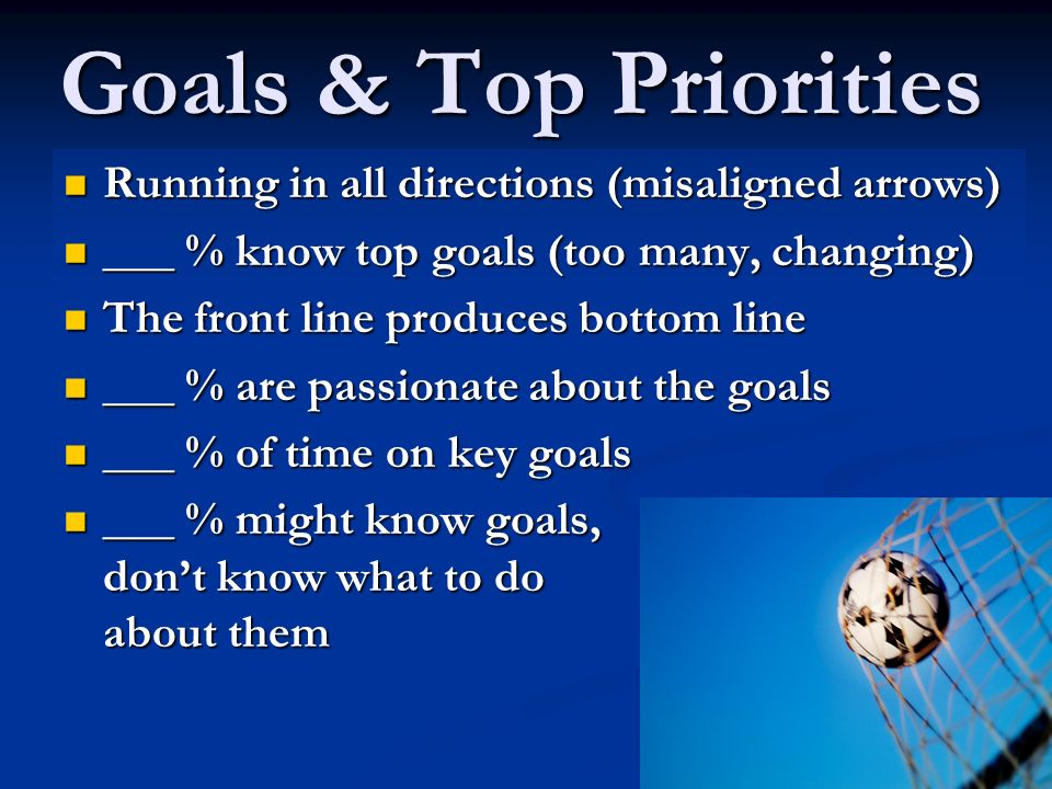 Goals & Top Priorities Running in all directions (misaligned arrows)