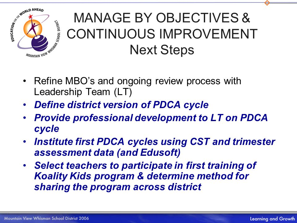 MANAGE BY OBJECTIVES & CONTINUOUS IMPROVEMENT Next Steps