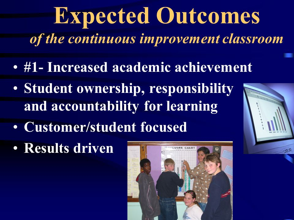 Expected Outcomes of the continuous improvement classroom
