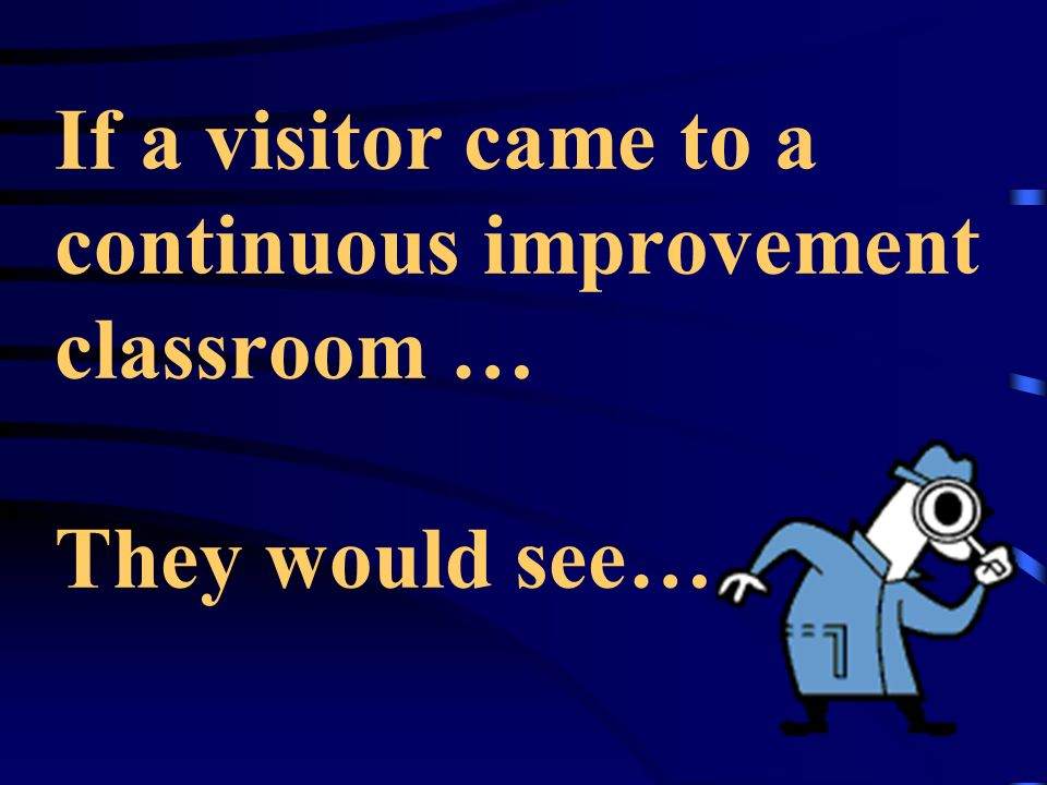 If a visitor came to a continuous improvement classroom … They would see…