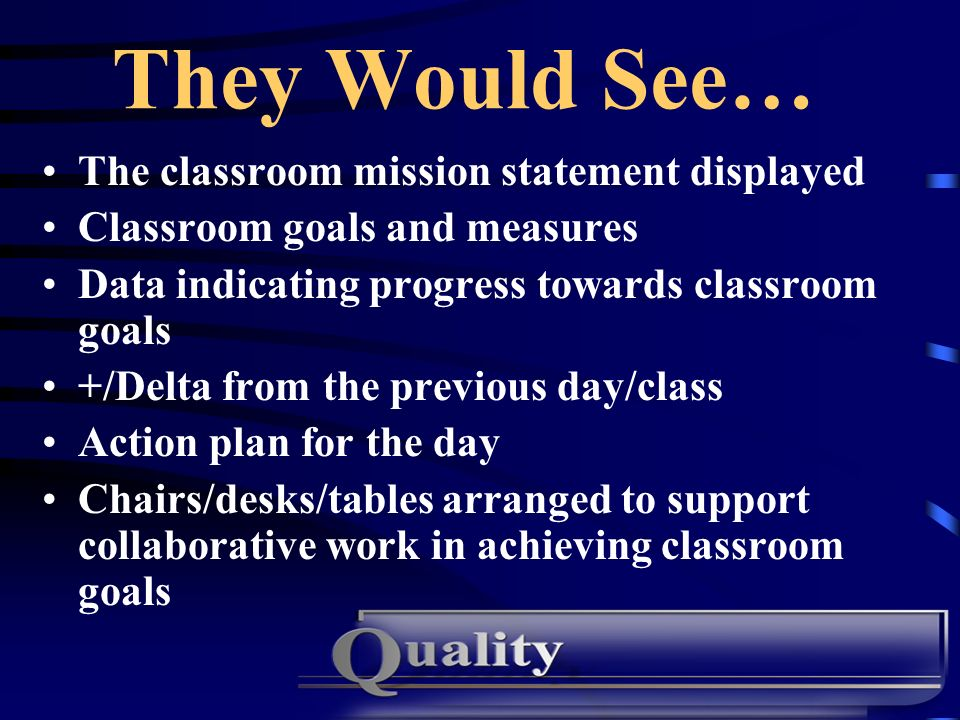 They Would See… The classroom mission statement displayed
