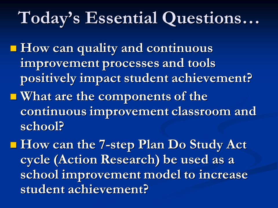 Today's Essential Questions…