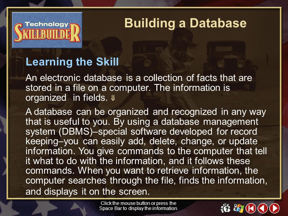 Building a Database Learning the Skill