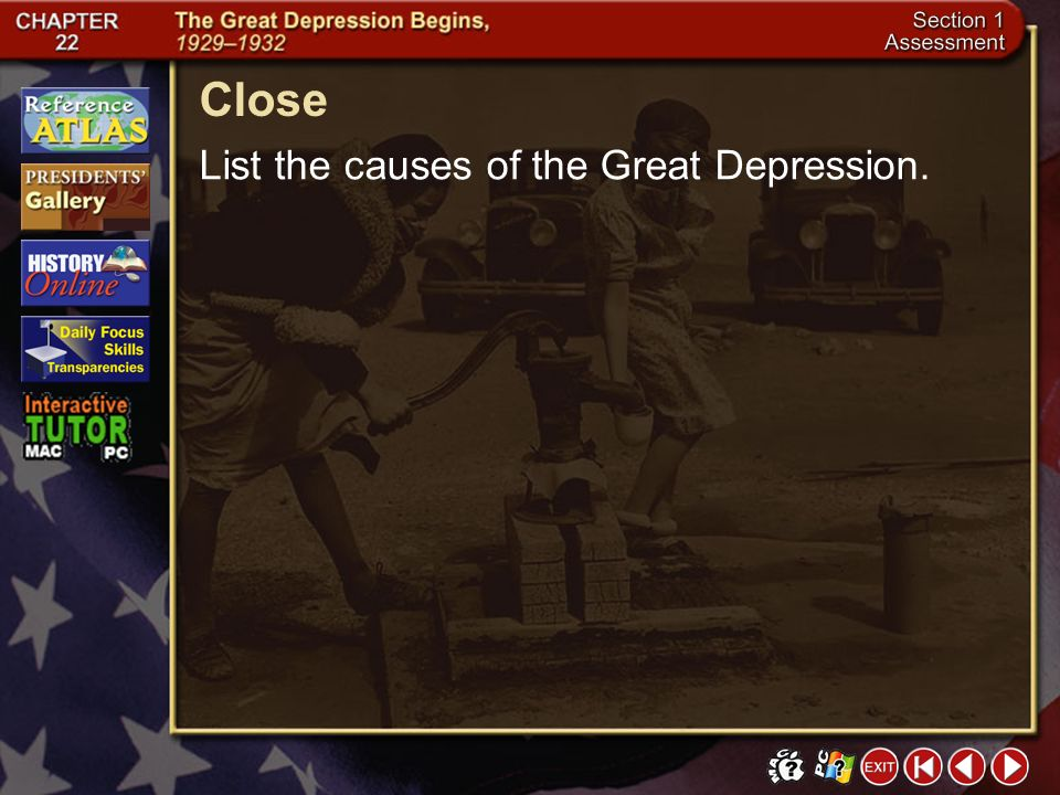 Close List the causes of the Great Depression. Section 1-26