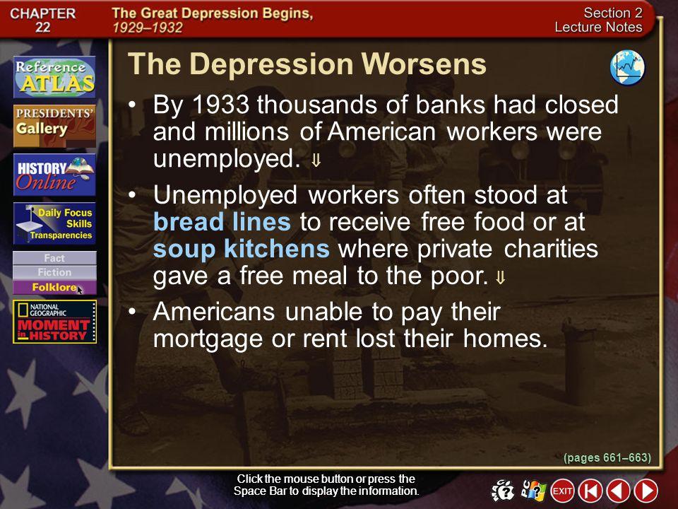 The Depression Worsens
