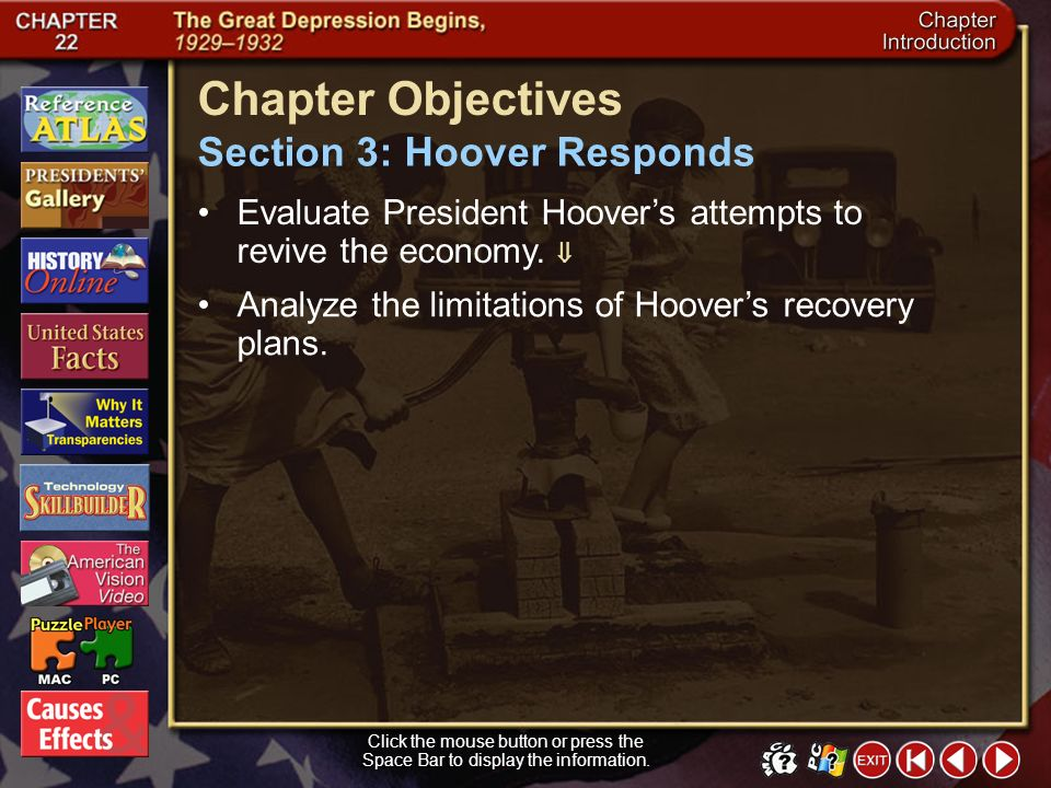 Chapter Objectives Section 3: Hoover Responds