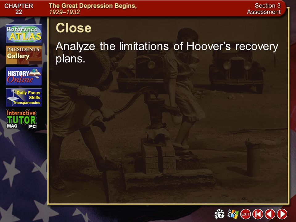 Close Analyze the limitations of Hoover's recovery plans. Section 3-24