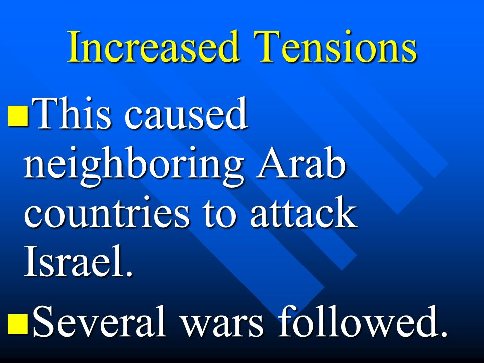 Increased Tensions This caused neighboring Arab countries to attack Israel. Several wars followed.