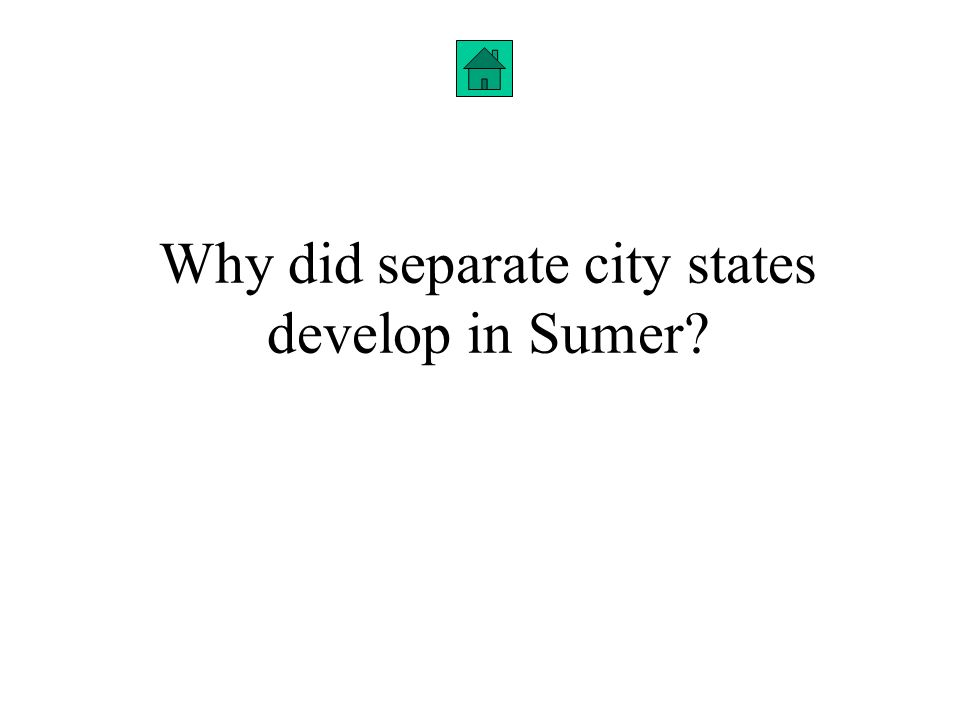 Why did separate city states develop in Sumer