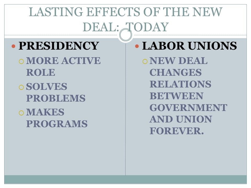 LASTING EFFECTS OF THE NEW DEAL: TODAY