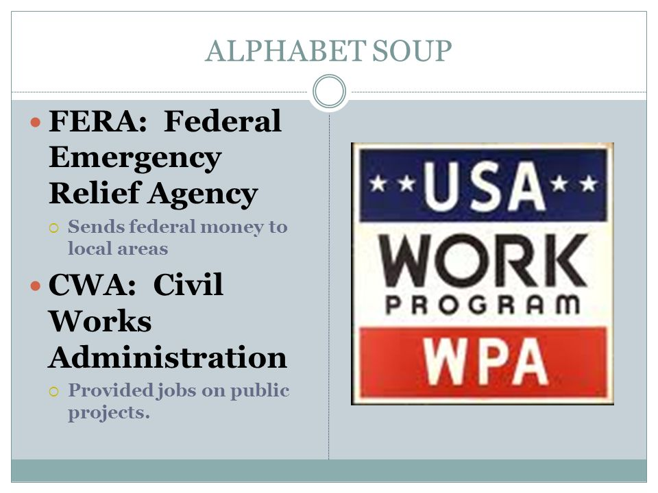 FERA: Federal Emergency Relief Agency