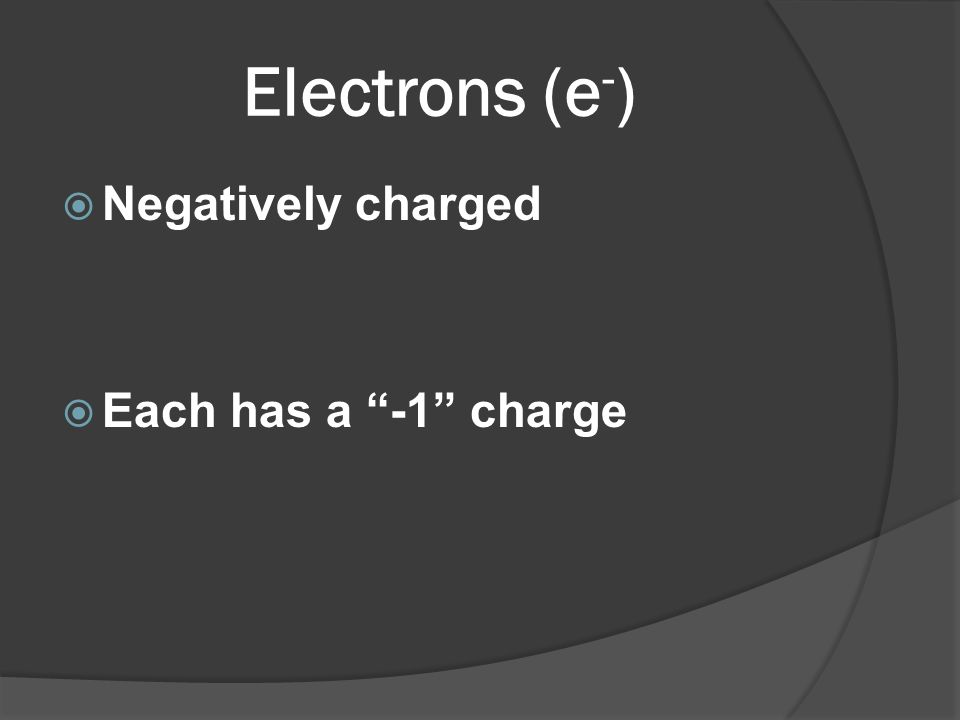 Electrons (e-) Negatively charged Each has a -1 charge