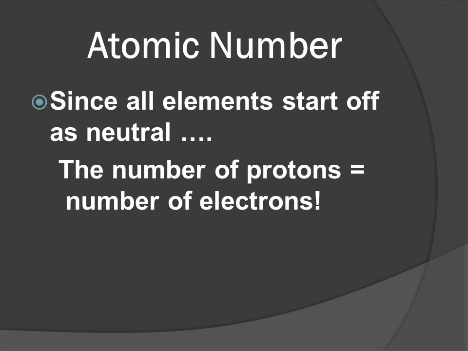 Atomic Number Since all elements start off as neutral ….