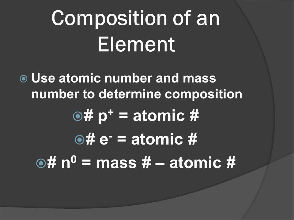 Composition of an Element