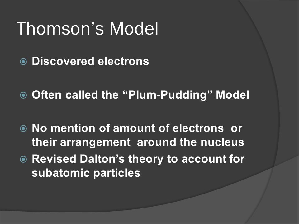 Thomson's Model Discovered electrons