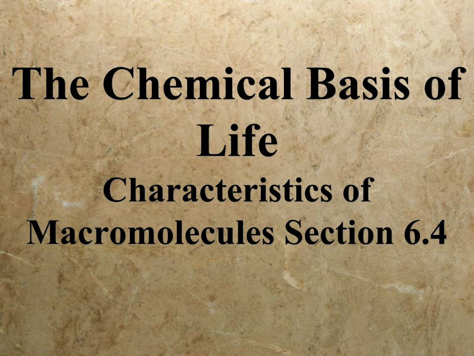 The Chemical Basis of Life Characteristics of Macromolecules Section 6