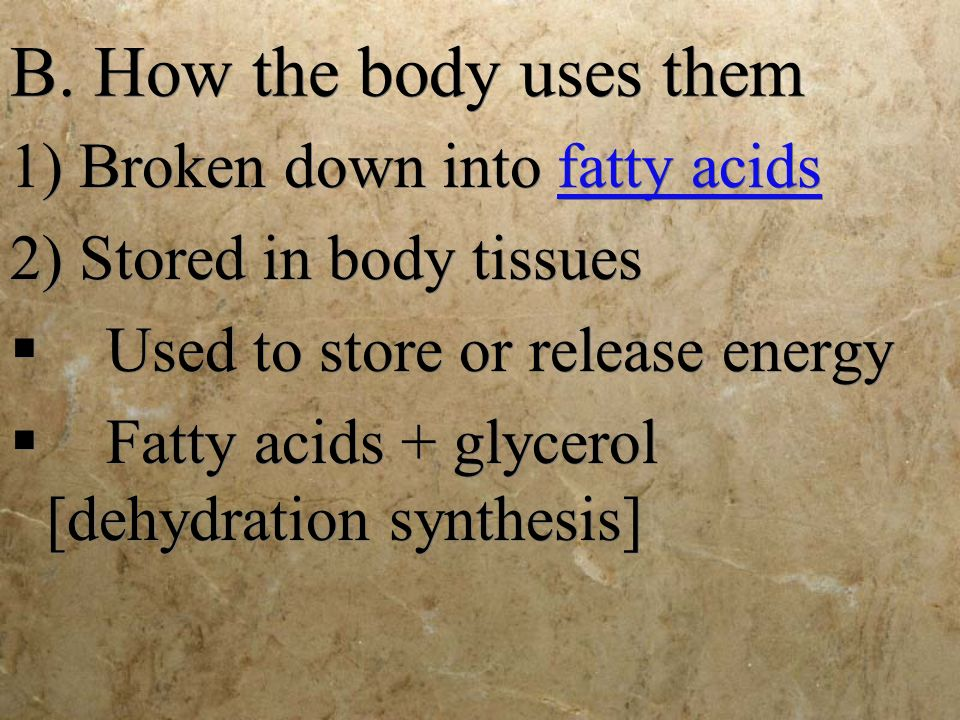 B. How the body uses them 1) Broken down into fatty acids