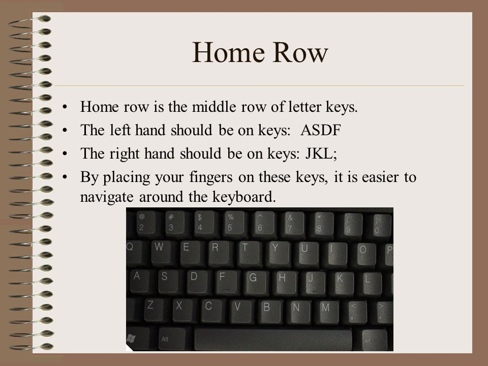 Home Row Home row is the middle row of letter keys.