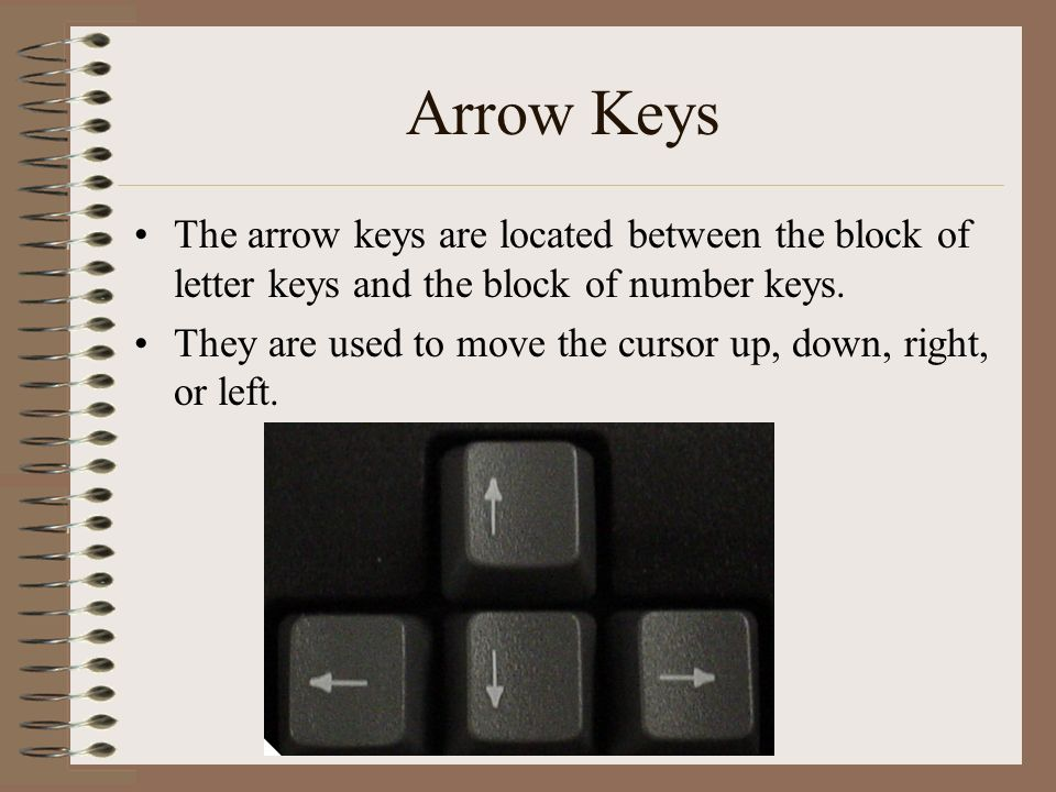 Arrow Keys The arrow keys are located between the block of letter keys and the block of number keys.
