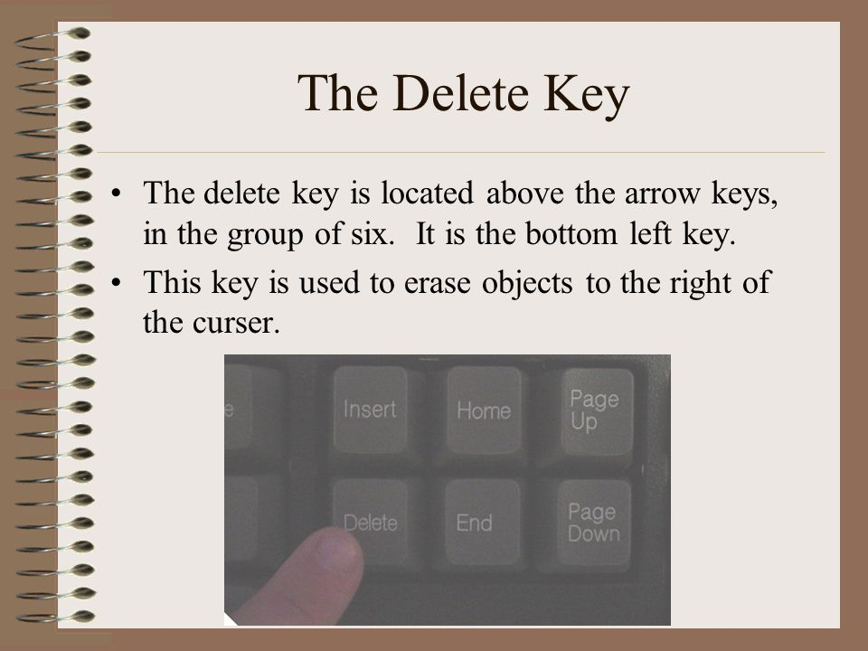 The Delete Key The delete key is located above the arrow keys, in the group of six. It is the bottom left key.