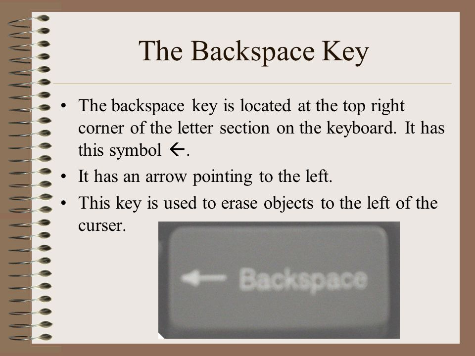 The Backspace Key The backspace key is located at the top right corner of the letter section on the keyboard. It has this symbol .