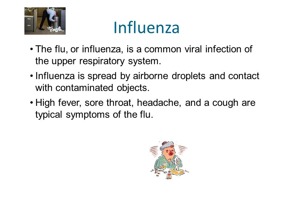 Influenza The flu, or influenza, is a common viral infection of the upper respiratory system.
