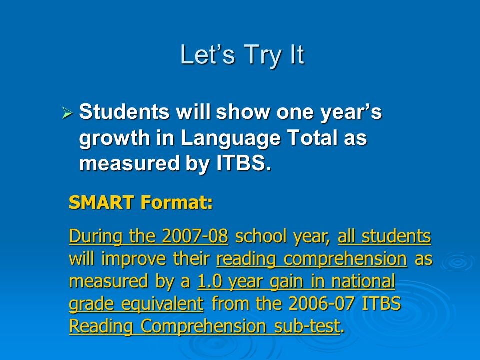 Let's Try It Students will show one year's growth in Language Total as measured by ITBS. SMART Format: