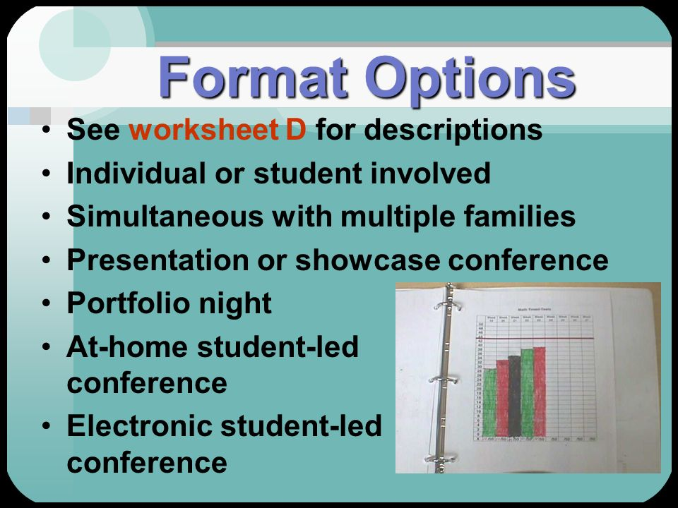 Format Options See worksheet D for descriptions