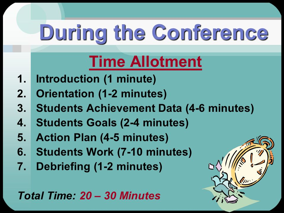 During the Conference Time Allotment Introduction (1 minute)