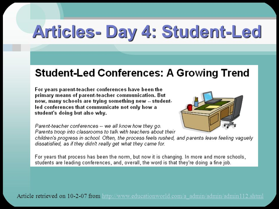 Articles- Day 4: Student-Led