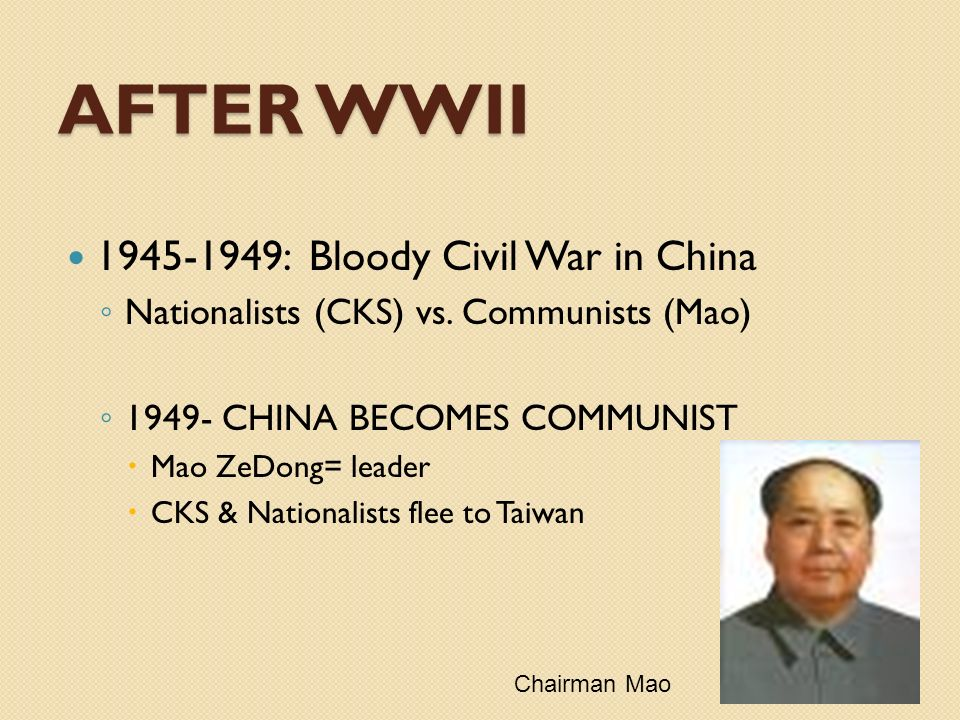 AFTER WWII 1945-1949: Bloody Civil War in China