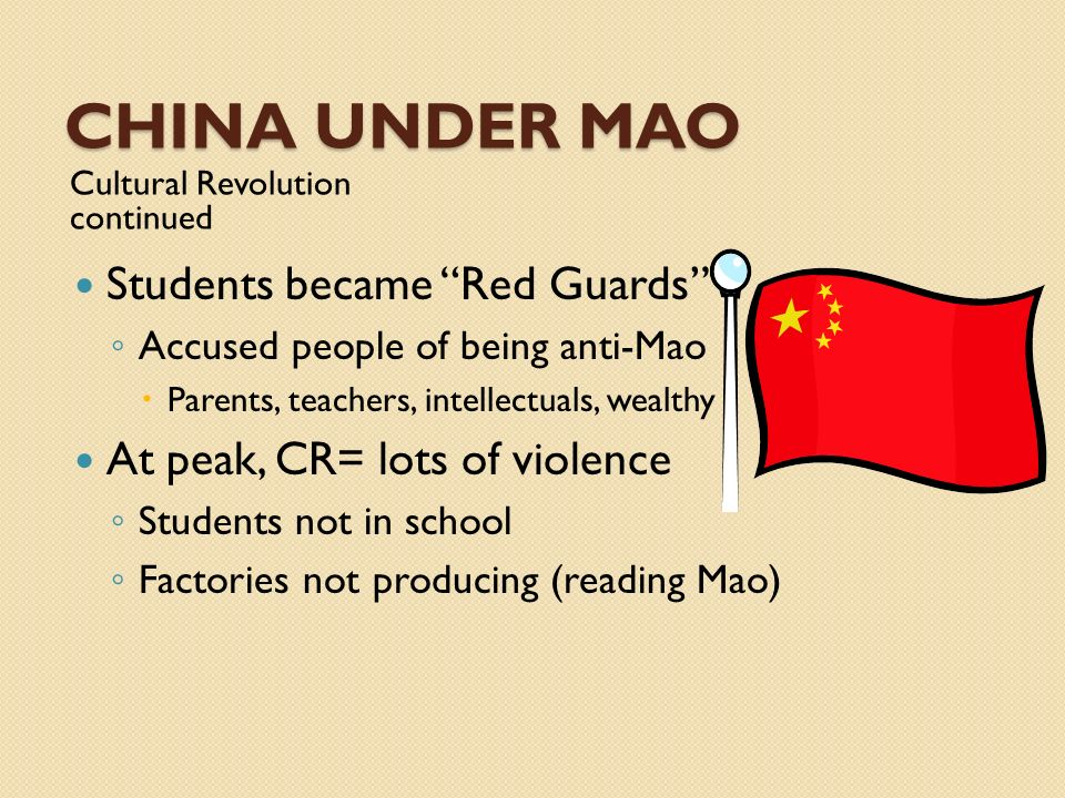 China UNDER MAO Students became Red Guards