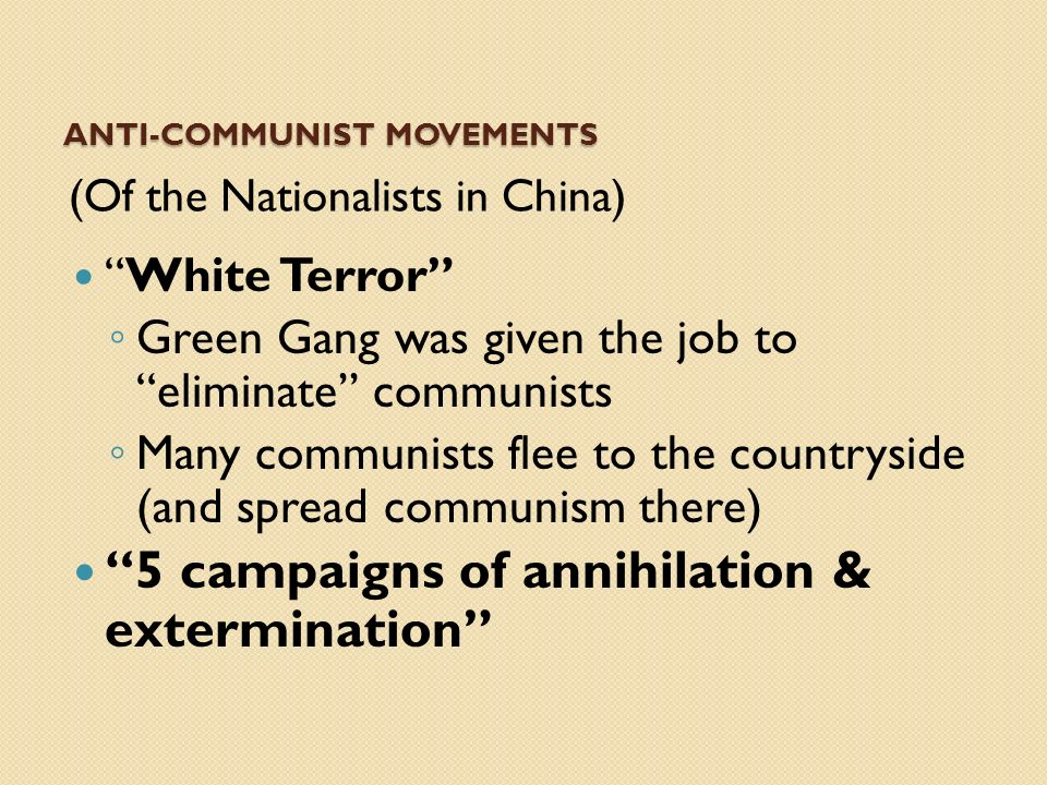 ANTI-Communist Movements