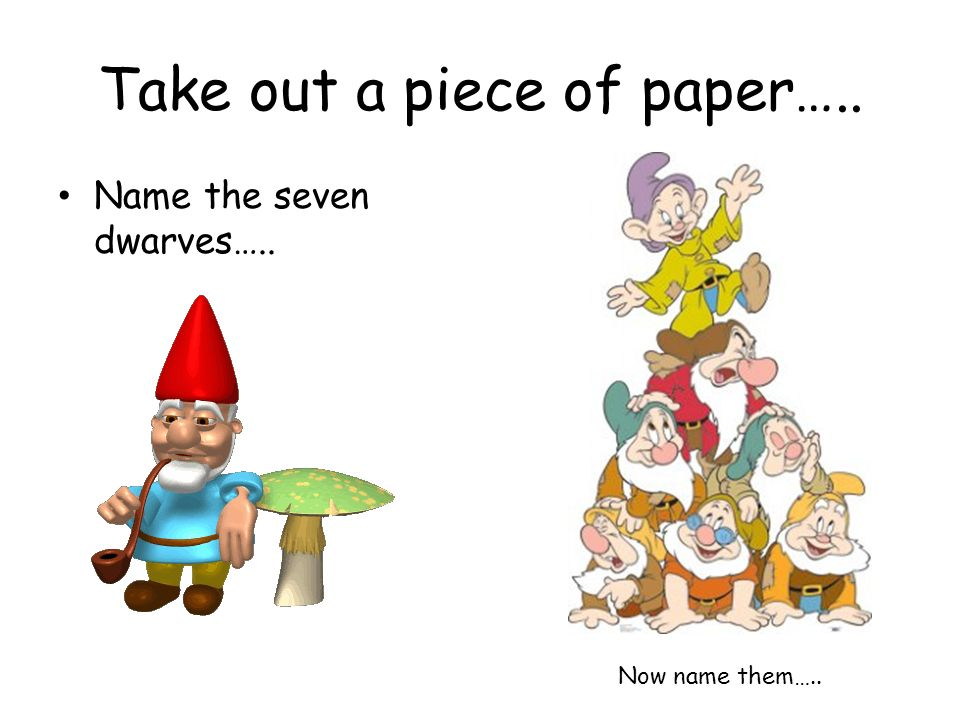 Take out a piece of paper…..