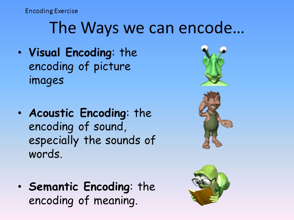 Encoding Exercise The Ways we can encode… Visual Encoding: the encoding of picture images.
