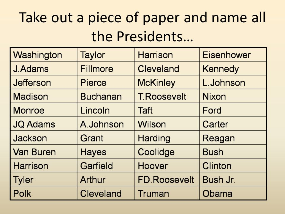 Take out a piece of paper and name all the Presidents…
