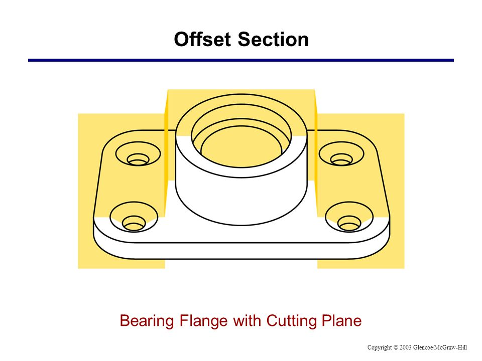 Offset Section Bearing Flange with Cutting Plane